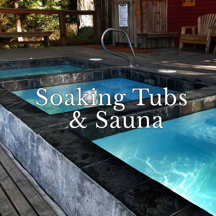 Soaking tubs and sauna doe bay